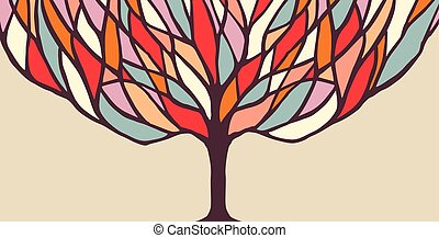Colorful tree concept illustration for banner