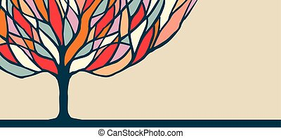 Colorful tree nature art illustration for banner