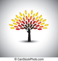 colorful tree of life & hand - eco lifestyle concept vector