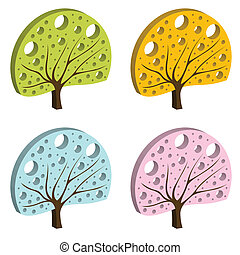 Colorful tree vector background