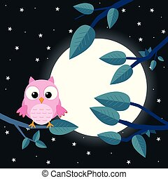 Colorful tree with cute owl. Cartoon bird in moon forest. Flat vector illustration.