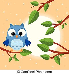 Colorful tree with cute owl. Cartoon bird in sunny forest. Flat vector illustration.