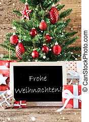 Colorful Tree With Snowflakes, Frohe Weihnachten Means Merry Christmas