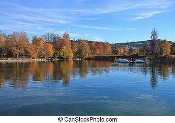 Colorful trees at the shore of lake Pfaffikon