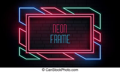 colorful trendy neon frame with text space