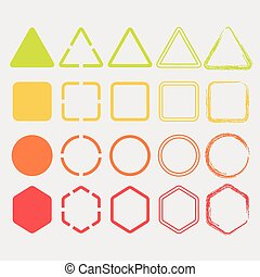 Colorful trendy shapes icons set