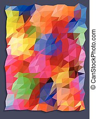 Colorful triangle pattern on gray frame