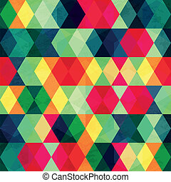 colorful triangle seamless pattern with grunge effect