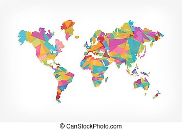 Colorful triangle world map concept illustration