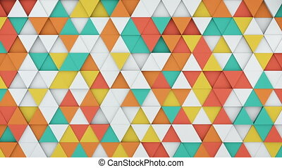 Colorful triangles extruding 3D render loopable animation -...