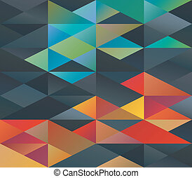 Colorful triangles ornament - Colorful green and red tiled...
