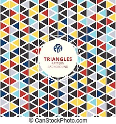 Colorful triangles pattern on white background.