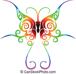 Colorful tribal butterfly tattoo