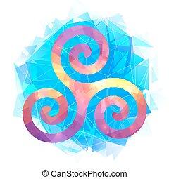 Colorful triskel on blue triangles modern background -...