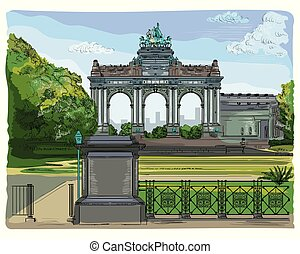 Colorful triumphal arch in the park of the fiftieth anniversary in Brussels