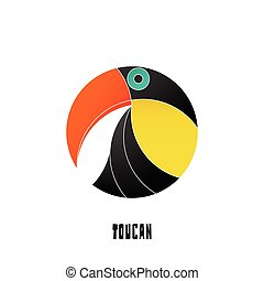 toucan - colorful, tropical bird icon isolated on white...
