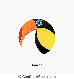 colorful, tropical bird icon isolated on white background. vector toucan logo design. wild, funny bird character. popular, stylized South America travel sign. cute, exotic birds symbol