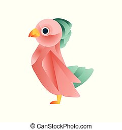Colorful tropical bird, stylized geometric animal low poly design vector Illustration