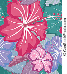 Colorful tropical floral seamless vector pattern