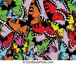 Colorful tropical  seamless vector pattern with butterflies