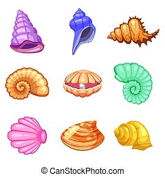 Colorful tropical shells underwater icon set frame of sea shells, cartoon style. Vector illustration.