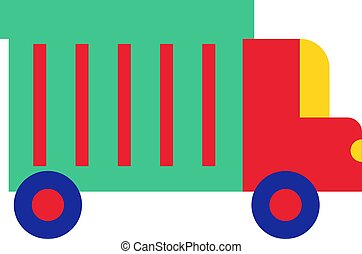 Colorful truck flat illustration on white