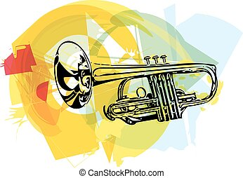 colorful trumpet illustration