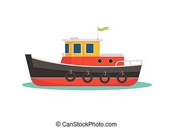 Colorful tugboat vector flat illustration. Cute small ship.