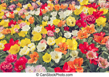 Colorful tulip flowers on a field watercolor.