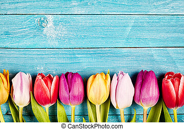 Colorful tulips aligned on a rustic wooden surface