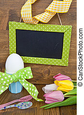 Colorful tulips and Easter eggs