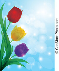 Colorful Tulips Blue Bokeh Background Illustration