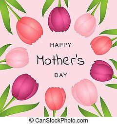 colorful tulips circle border happy mothers day
