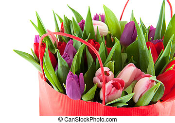 Colorful tulips in shopping bag