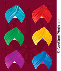 an illustration of colorful sikh turbans on a red background with sikh symbol