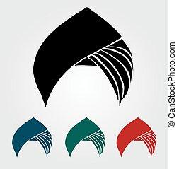 Colorful turbans or headgear isolated