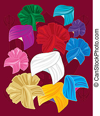 colorful turbans - an illustration of a variety of colorful...