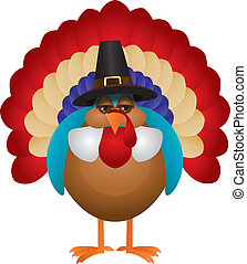 Colorful Turkey with Pilgrim Hat Illustration - Colorful...