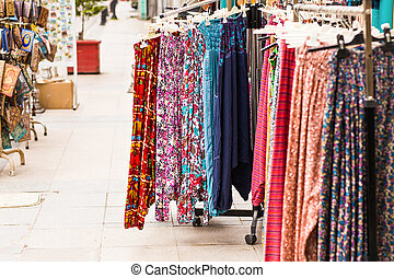 Colorful turkish  clothes on the market