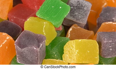 Colorful Turkish Delight on a turntable - Cubes colored...