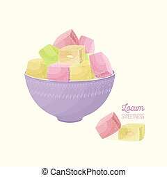 Colorful Turkish delight or rahat lokum and nougat in bowl ...