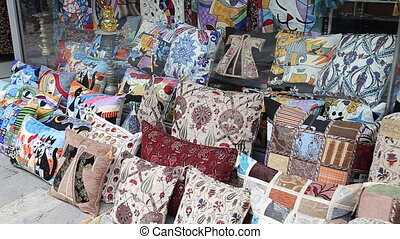 Colorful Turkish design cushions at Grand Bazaar in...