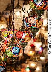 Colorful Turkish Laterns in Grand Bazaar, Istanbul, Turkey