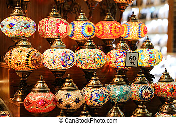 Colorful Turkish Laterns in Istanbul City, Turkey
