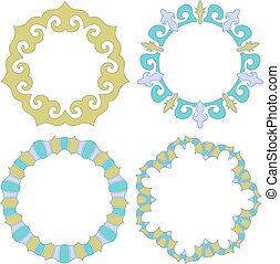 Colorful turquoise, green and lilac ornament or frame collection with curls
