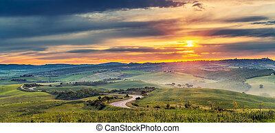 Colorful Tuscany landscape at sunrise