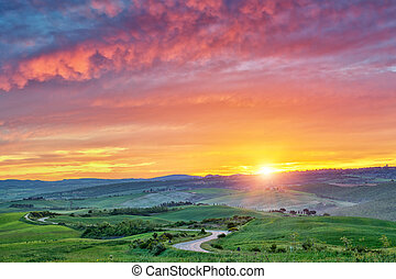 Colorful Tuscany sunrise