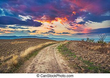 Colorful Tuscany sunset