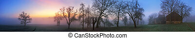 Colorful twilight winter landscape panorama