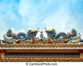 Colorful twin chinese dragon sculpture on the roof in chinese temple